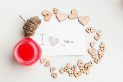 Wooden hearts, jam. Text i love you Royalty Free Stock Photos