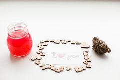 Wooden hearts, jam Stock Images