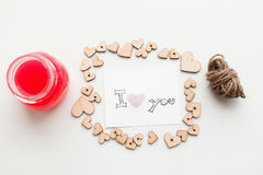 Wooden hearts, jam. Text i love you Royalty Free Stock Image