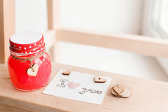 Wooden hearts, jam. Text i love you Stock Photos