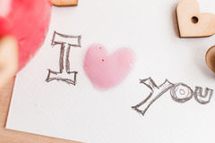 Wooden hearts, jam. Text i love you Royalty Free Stock Photo