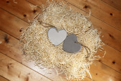 Wooden hearts in a nest Stock Photos