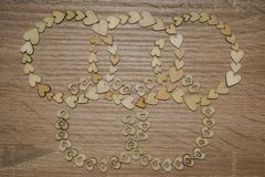 Wooden hearts Olympic symbols. Love Royalty Free Stock Image