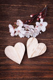 Wooden hearts placed nicely with spring cherry blossom flowers Royalty Free Stock Photo
