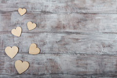 Wooden hearts Valentine Day image Royalty Free Stock Images