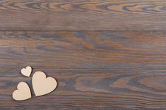 Wooden hearts Valentine Day rustic image Stock Photos