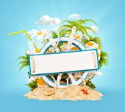 Wooden helm with a blank wooden plank. For text on sand. Unusual 3D illustration. Travel and vacation concept Royalty Free Stock Image