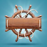 Wooden helm with a blank wooden plank. For text. Unusual 3D illustration. Travel and vacation concept Stock Image