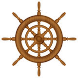 Wooden helm wheel. Helm wheel on white background Stock Photo