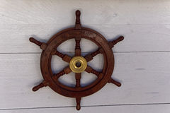 Wooden helm wheel decoration Royalty Free Stock Images