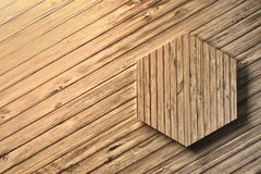 Wooden hexagon on wooden background. Single wooden large heaxagon on a wooden floor or wall. Image with blank copy space. 3d illustration vector illustration