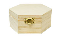 Wooden hexagonal shape storage box Stock Photos