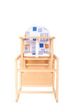 Wooden high chair for baby feeding isolated Royalty Free Stock Images