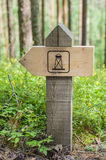 Wooden hiking trail guidepost of landmark Stock Photography