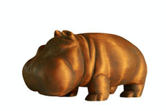 Wooden hippopotamus on white background. Wooden figure of a hippopotamus isolated on white background Stock Photo