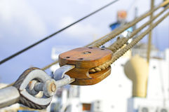 Wooden hoist. Close up of a wooden hoist in an old cargo vessel royalty free stock photo