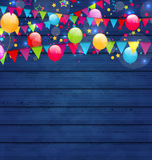 Wooden holiday background with multicolored  balloons and hangin. Illustration wooden holiday background with multicolored  balloons and hanging flags, place for Royalty Free Stock Photo