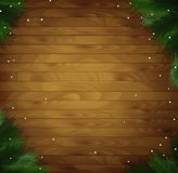 Wooden holiday background with snow and Christmas tree branches,. Vector Stock Photography