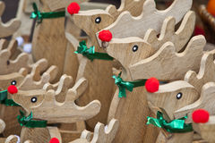 Wooden Holiday Reindeer Toys Stock Photo