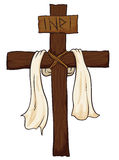 Wooden Holy Cross with Fabric and INRI sign, Vector Illustration Royalty Free Stock Photos