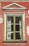 Wooden Home Window. Stylish wooden home window decorated with portico stock photos
