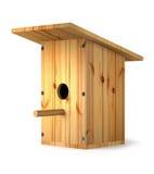 Wooden homemade birdhouse for birds. Royalty Free Stock Photo