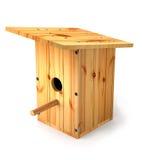 Wooden homemade birdhouse for birds. Stock Photo