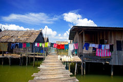 Wooden homes in a water's village Royalty Free Stock Images