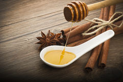 Wooden honey dipper Stock Images