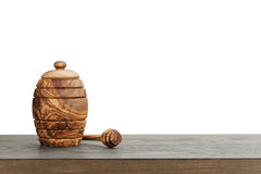 Wooden honey pot with dipper Stock Images