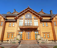 Wooden Honka club house in  former private residence of ex-president Yanukovich Stock Images