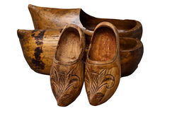 Wooden hoofs. Old wooden hoofs hand carved Stock Photo
