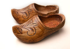 Wooden hoofs. Old wooden hoofs hand carved Stock Image