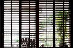 Wooden horizontal jalousie , dark Stock Images