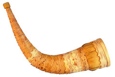 Wooden horn on white background. Royalty Free Stock Images
