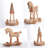 Wooden horse. Wooden retro toy horse from four directions Stock Photography