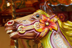Wooden horse on a carousel Stock Photo