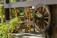 The wooden horse carriage caster in garden.  royalty free stock photography