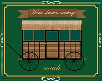 Wooden horse carriage. Without a horse on a green background Stock Photos
