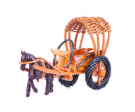 Wooden horse cart for decoration isolated on a white background. Wooden horse cart for decoration isolated on white background Royalty Free Stock Photography