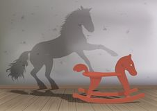 A wooden horse dreams of being a real horse. royalty free illustration