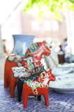Wooden horse in flea market Royalty Free Stock Photos