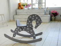 Wooden horse on the floor Stock Images