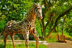 Wooden horse. Horse model from set of root Royalty Free Stock Photo