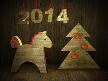 Wooden horse, new year greeting card 2014 Stock Photos