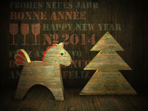 Wooden horse, new year greeting card 2014. Greeting card by new year 2014 with congratulations in different languages, it can be used for decorating of Royalty Free Stock Images