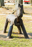 Wooden horse in park Stock Photo