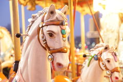 Wooden horse portrait. Portrait of wooden horse in a merry go round Royalty Free Stock Photos
