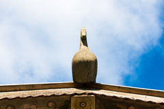 Wooden horse on the roof Stock Photos