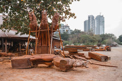 Wooden Horse Sculpture in Wood Workshop at Sanctuary of The Truth. Pattaya, Chonburi Province, Thailand.  Royalty Free Stock Photos